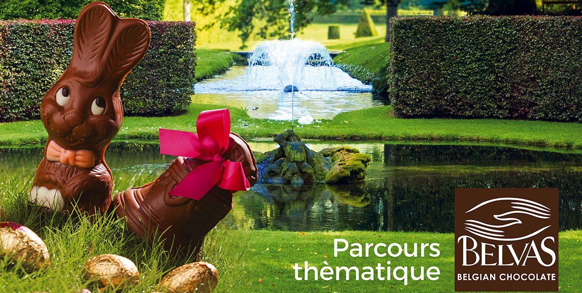 Lapin de Pâques et chocolats belges et bio de Belvas aux Jardins d'Eau d'Annevoie les 21 et 22 avril 2019